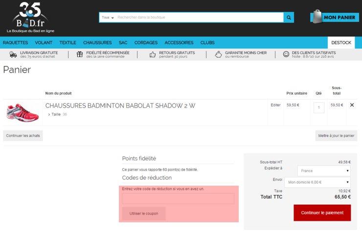 utilisant un code promo de bad.fr