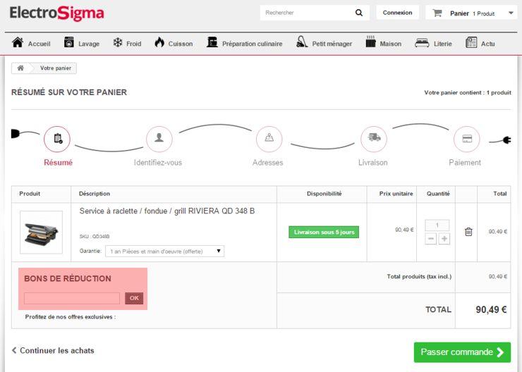 utilisant un code promo de electrosigma.com