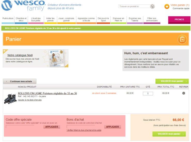 utilisant un code promo de wesco-family.fr