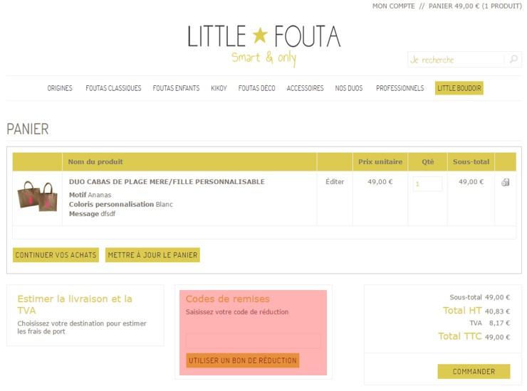 utilisant un code promo de little-fouta.com