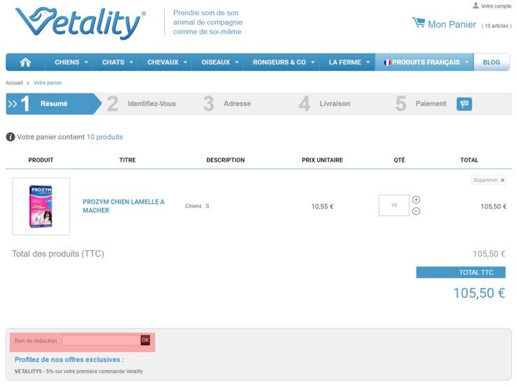 utilisant un code promo de vetality.fr