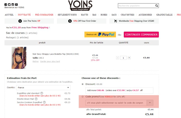 utilisant un code promo de yoins.com